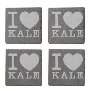 I Love Kale Engraved Slate Coaster Set