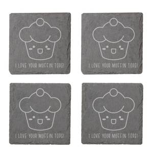 I Love Your Muffin Tops Engraved Slate Coaster Set