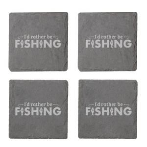 I'd Rather Be Fishing Engraved Slate Coaster Set