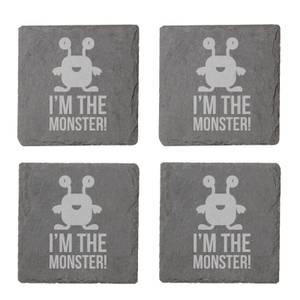 I'm The Monster Engraved Slate Coaster Set