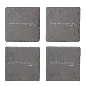 Interrupt Anxiety With Gratitude Engraved Slate Coaster Set