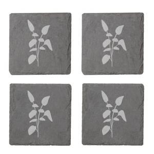 Leaves Engraved Slate Coaster Set