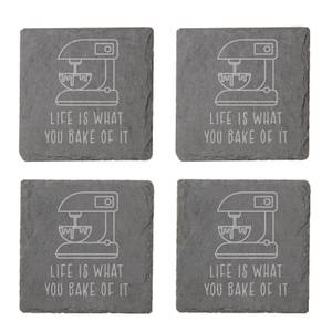 Life Is What You Bake Of It Engraved Slate Coaster Set
