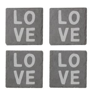 Love Engraved Slate Coaster Set