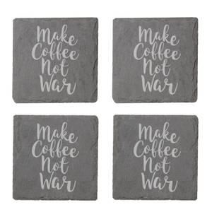 Make Coffee Not War Engraved Slate Coaster Set