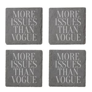 More Issues Than Vogue Engraved Slate Coaster Set