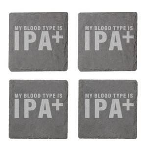 My Blood Type Is IPA+ Engraved Slate Coaster Set