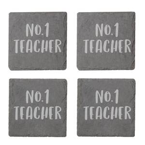 No.1 Teacher Engraved Slate Coaster Set
