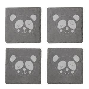 Panda Engraved Slate Coaster Set