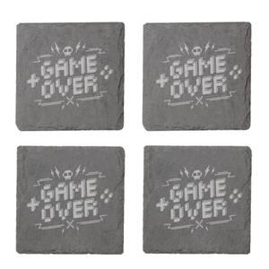 Pixel Game Over Engraved Slate Coaster Set