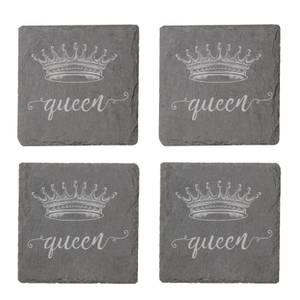 Queen Engraved Slate Coaster Set