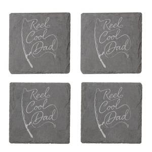 Reel Cool Dad Engraved Slate Coaster Set