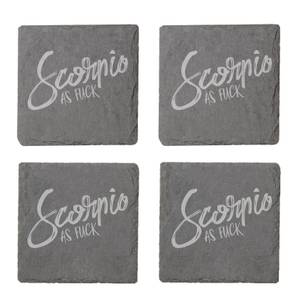 Scorpio As Fuck Engraved Slate Coaster Set