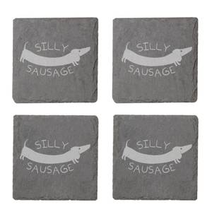Silly Sausage Engraved Slate Coaster Set