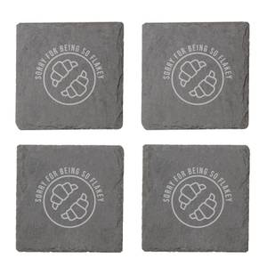 Sorry For Being So Flakey Engraved Slate Coaster Set