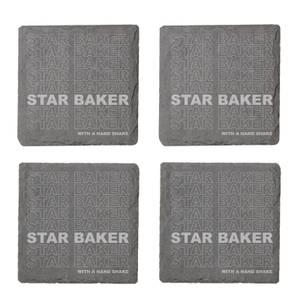 Star Baker With A Hand Shake Engraved Slate Coaster Set
