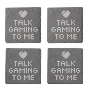 Talk Gaming To Me Engraved Slate Coaster Set