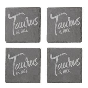 Taurus As Fuck Engraved Slate Coaster Set