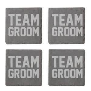 Team Groom Engraved Slate Coaster Set