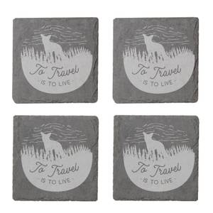 To Travel Is To Live Engraved Slate Coaster Set