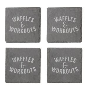 Waffles & Workouts Engraved Slate Coaster Set