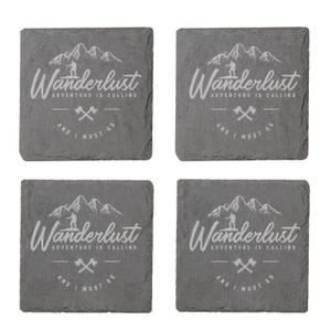 Wanderlust Engraved Slate Coaster Set