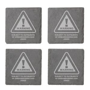 Warning Dad Jokes Engraved Slate Coaster Set