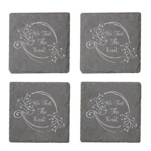 We Tied The Knot Engraved Slate Coaster Set