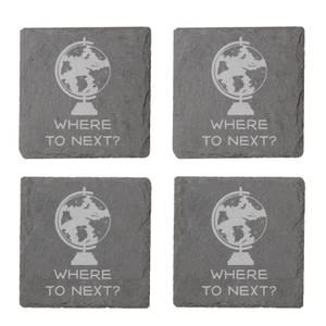 Where To Next? Engraved Slate Coaster Set