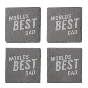 Worlds Best Dad Engraved Slate Coaster Set
