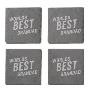 Worlds Best Grandad Engraved Slate Coaster Set