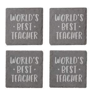 World's Best Teacher Engraved Slate Coaster Set