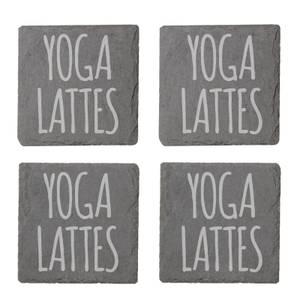 Yoga Lattes Engraved Slate Coaster Set