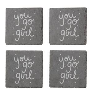 You Go Girl Engraved Slate Coaster Set