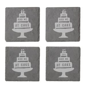 You Had Me At Cake Engraved Slate Coaster Set