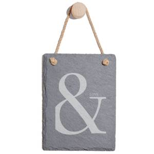 & Love Engraved Slate Memo Board - Portrait