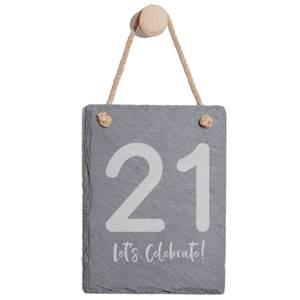 21 Let's Celebrate Engraved Slate Memo Board - Portrait