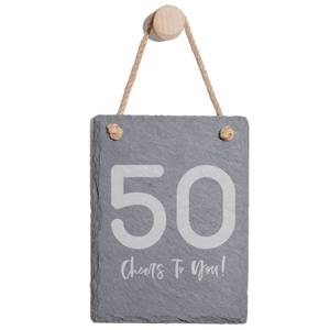 50 Cheers To You! Engraved Slate Memo Board - Portrait