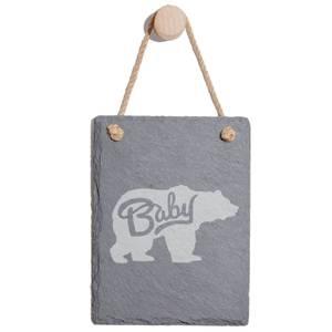 Baby Bear Engraved Slate Memo Board - Portrait