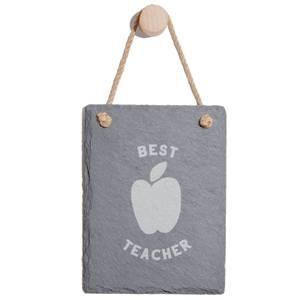 Best Teacher Engraved Slate Memo Board - Portrait