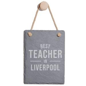 Best Teacher In Liverpool Engraved Slate Memo Board - Portrait