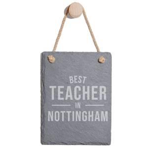 Best Teacher In Nottingham Engraved Slate Memo Board - Portrait