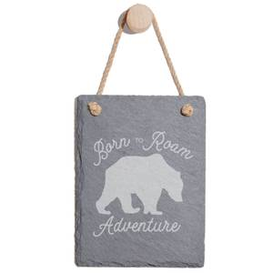 Born To Roam Adventure Engraved Slate Memo Board - Portrait