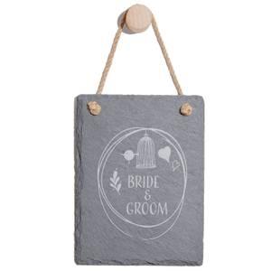 Bride & Groom Engraved Slate Memo Board - Portrait