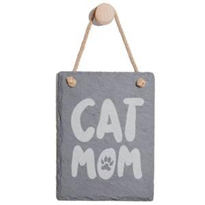 Cat Mom Engraved Slate Memo Board - Portrait