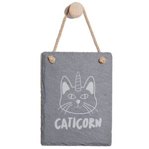 Caticorn Engraved Slate Memo Board - Portrait