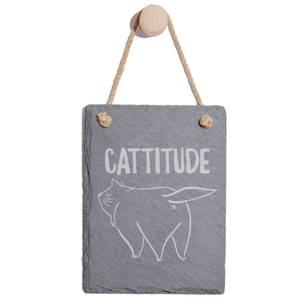 Cattitude Engraved Slate Memo Board - Portrait