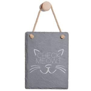 Check Meowt Engraved Slate Memo Board - Portrait