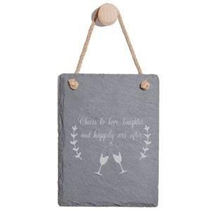 Cheers To Love Engraved Slate Memo Board - Portrait