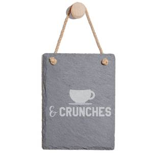 Coffee & Crunches Engraved Slate Memo Board - Portrait